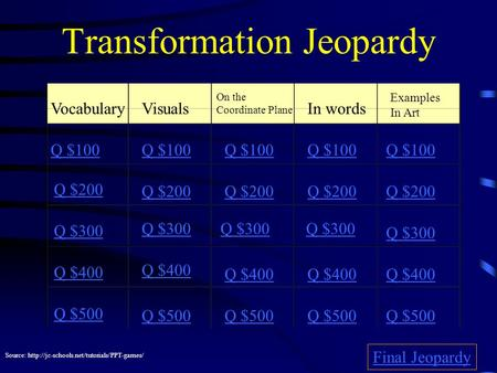 Transformation Jeopardy VocabularyVisuals On the Coordinate Plane In words Examples In Art Q $100 Q $200 Q $300 Q $400 Q $500 Q $100 Q $200 Q $300 Q $400.