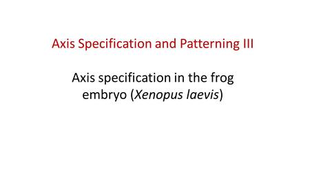 Axis Specification and Patterning III Axis specification in the frog embryo (Xenopus laevis)