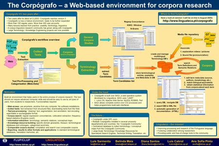 LINGUATECA  FLUP/CLUP  The Corpógrafo – a Web-based environment for corpora research extract Term Candidates.