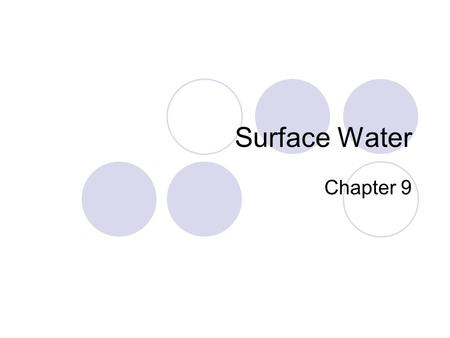 Surface Water Chapter 9. Surface water movement: Water Cycle Earths water supply is constantly recycled WRITE WRITE.