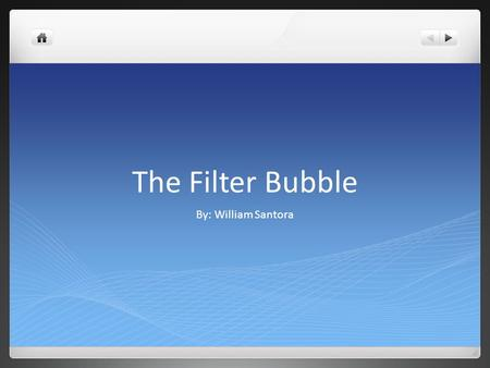 The Filter Bubble By: William Santora. The Book The title of my book is The Filter Bubble: What the Internet Is Hiding From You. It was written by Eli.
