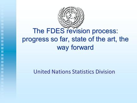 The FDES revision process: progress so far, state of the art, the way forward United Nations Statistics Division.