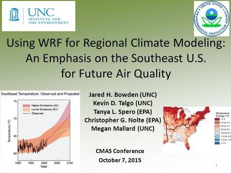 Using WRF for Regional Climate Modeling: An Emphasis on the Southeast U.S. for Future Air Quality Jared H. Bowden (UNC) Kevin D. Talgo (UNC) Tanya L. Spero.