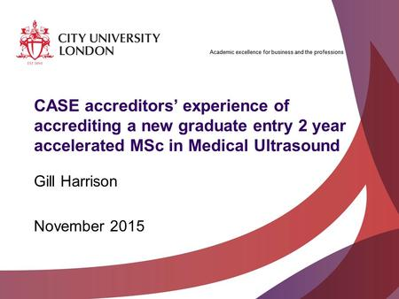 Academic excellence for business and the professions CASE accreditors' experience of accrediting a new graduate entry 2 year accelerated MSc in Medical.