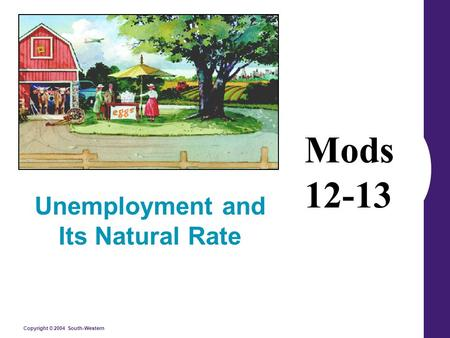 Copyright © 2004 South-Western Unemployment and Its Natural Rate Mods 12-13.