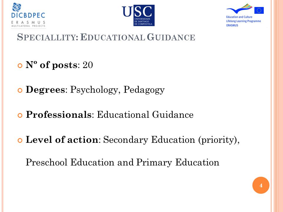S TUDIES P LANNING Generic Module (16 ECTS) Specific Module (26 ECTS) Practicum (12 ECTS) WFM (6 ECTS) Didactic, Curriculum and School Organization Educational Needs and Curriculum Adaptation Practicum 1 Final Work of Master Tutorial Function and Academic Guidance Guidance Models and Psychopedagogical Intervention Vocational Guidance Education and Langue s in Galicia Research, Evaluation and Educational Innovation Practicum 2 Psychological Development and School Learning Diagnostic and Educational Evaluation Disorders on the Development and Disabilities in the Learning Education, Society and Educational Politics Social Interaction, Learning and Construction of knowledge 5