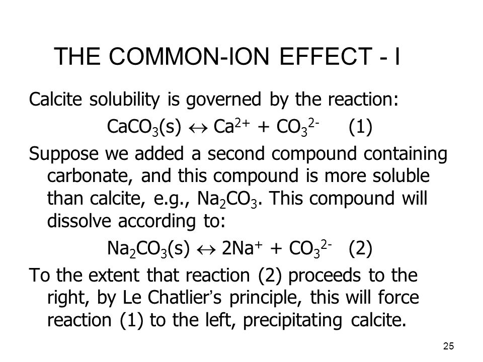 26 THE COMMON-ION EFFECT - II The effect of adding sodium carbonate to the solution can be demonstrated by adjusting the charge-balance expression to be: By repeating the derivation of the equations on a previous slide using this charge-balance expression we obtain: Increasing Na + concentration leads to decreased Ca 2+ concentration.