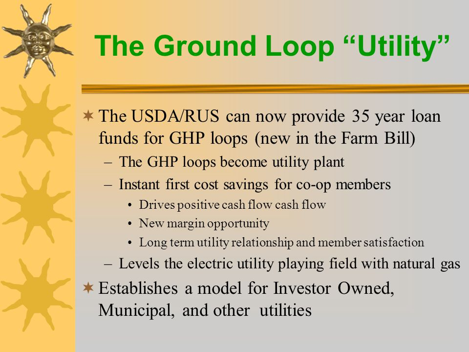 The Ground Loop Utility  Requirements –Loop Tariff Rate hearing for start-up and subsequent changes –Loop Policy –Member contract –Member easement –Third party GHP equipment installer contract (FUTURE)