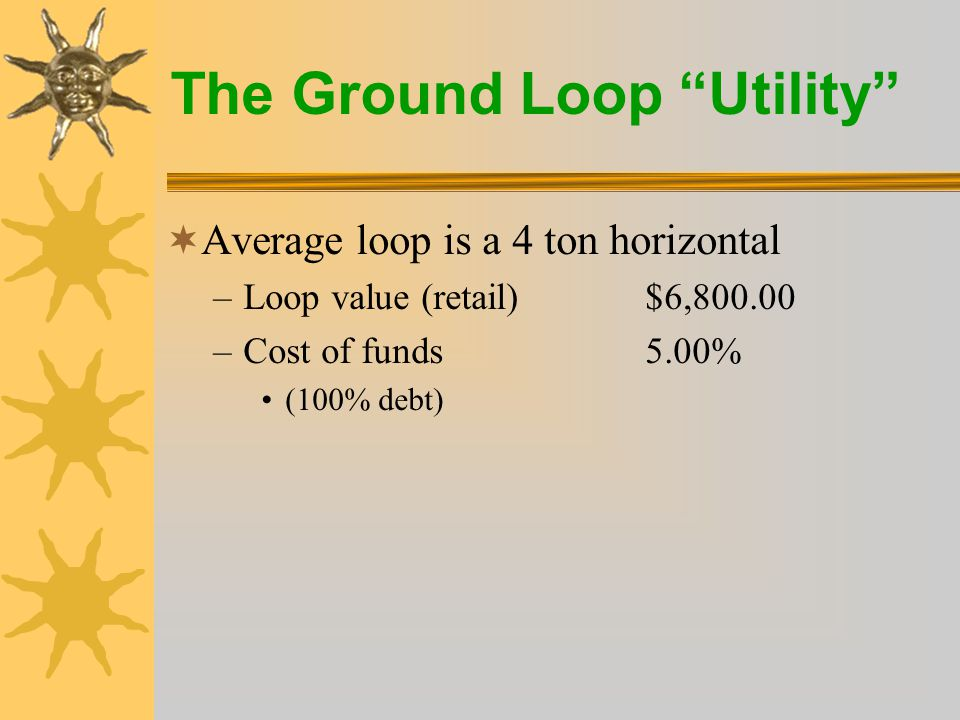 The Ground Loop Utility  kWh sales margin (monthly)$25.79  Member tariff payment$28.52 –Total monthly income$54.31  Simple payback 10 years  Monthly debt service$16.33 –(35 years at 5%)