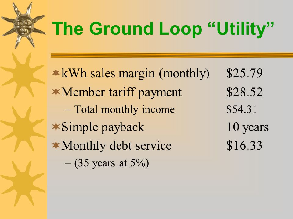 The Ground Loop Utility  A loop Tariff eliminates the higher sales price barrier for home builders, as they can build GeoExchange homes, for little or no premium versus a quality gas furnace and air conditioner.
