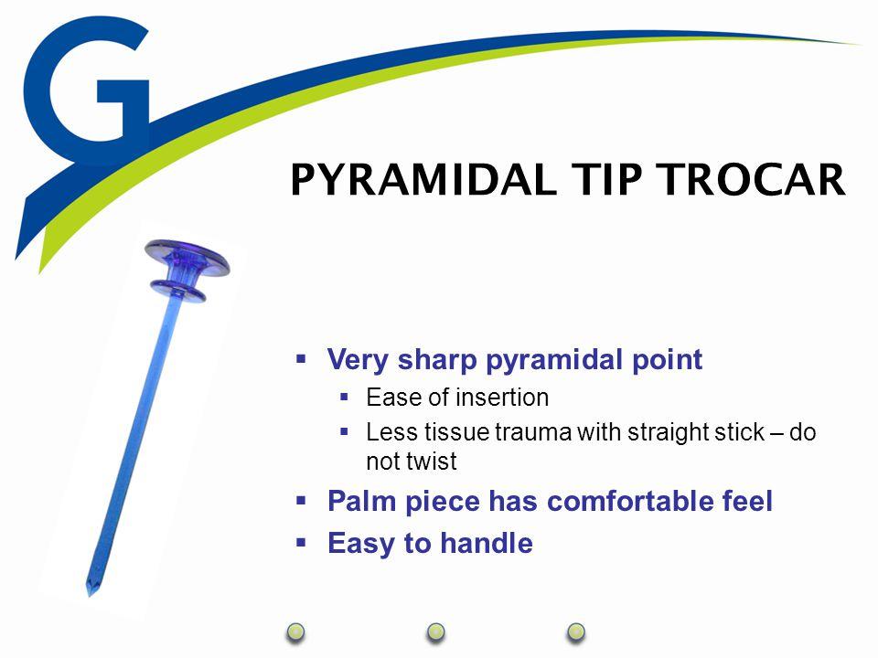 PYRAMIDAL TROCAR CONFIGURATIONS Part NumberDescriptionUOM 100-005-0005mm x 70mm Pyramidal Tip Trocar10 100-005-1005mm x 100mm Pyramidal Tip Trocar10 100-005-001 5mm x 70mm Pyramidal Tip Trocar and One Cannula (Threaded)5 100-005-101 5mm x 100mm Pyramidal Tip Trocar and One Cannula (Threaded)5 100-005-002 5mm x 70mm Pyramidal Tip Trocar and Two Cannulae (Threaded)5 100-005-102 5mm x 100mm Pyramidal Tip Trocar and Two Cannulae (Threaded)5 100-105-001 5mm x 70mm Pyramidal Tip Trocar and One Cannula (Smooth)5 100-105-101 5mm x 100mm Pyramidal Tip Trocar and One Cannula (Smooth)5 100-105-002 5mm x 70mm Pyramidal Tip Trocar and Two Cannulae (Smooth)5 100-105-102 5mm x 100mm Pyramidal Tip Trocar and Two Cannulae (Smooth)5