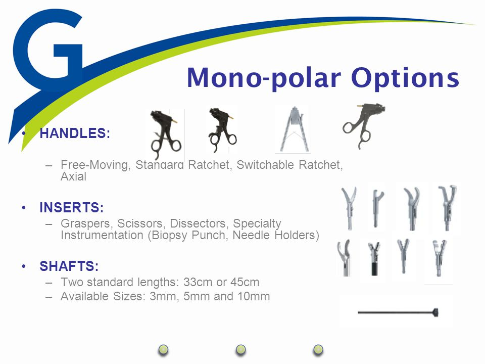 Bi-polar Laparoscopic Instrumentation Modular system –4 Components Handle Inner Shaft Outer Shaft Working Insert Sterilization –Autoclave –EtO