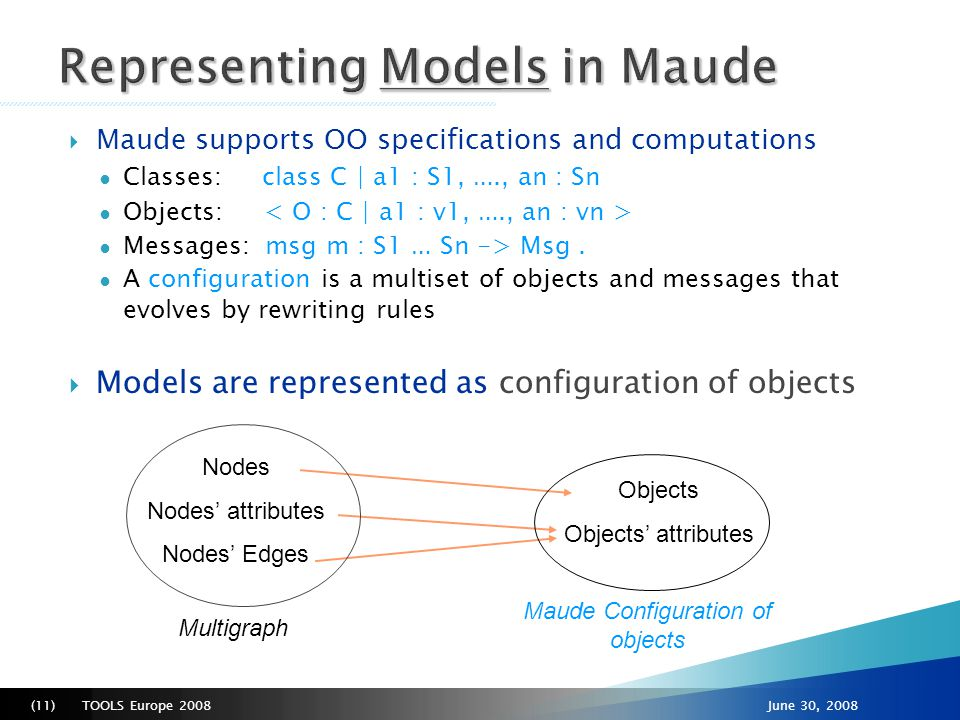 TOOLS Europe 2008(12)June 30, 2008  Object-oriented modules (i.e., specifications) ● They contain the classes to which the Maude objects belong ● Models conform to metamodels by construction ● Used to instantiate models, to add behavior…  Metamodels are models too.