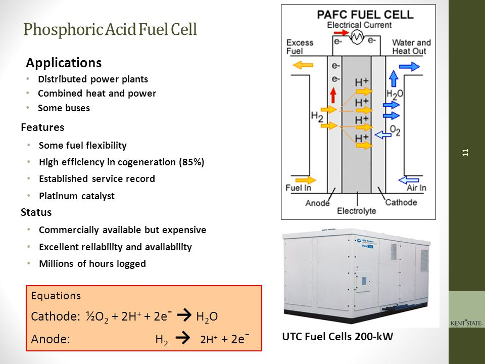 12 Equations Cathode: ½O 2 + CO 2 + 2e¯ → CO 3 = Anode: H 2 + CO 3 = → 2H 2 O + CO 2 + 2e¯ Fuel Cell Energy MCFC stack Molten Carbonate Fuel Cells Applications Distributed power plants Combined heat and power Features Fuel flexibility (internal reforming) High efficiency High temperature good for cogeneration Base materials (nickel electrodes) Corrosive electrolyte Status Pre-Commercially available but expensive