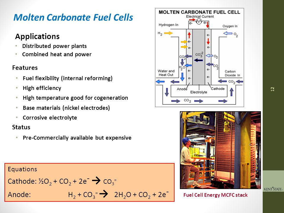 13 Equations Cathode:O 2 + 2e¯ → 2O = Anode: H 2 + O = → H 2 O + 2e¯ Solid Oxide Fuel Cells Applications Truck APUs Distributed power plants Combined heat and power Features Slow start – subject to thermal shock High temperature High power density (watts/liter) Can use CO and light hydrocarbons directly Cheap components, solid electrolyte Low-yield manufacture Status Vehicle APUs