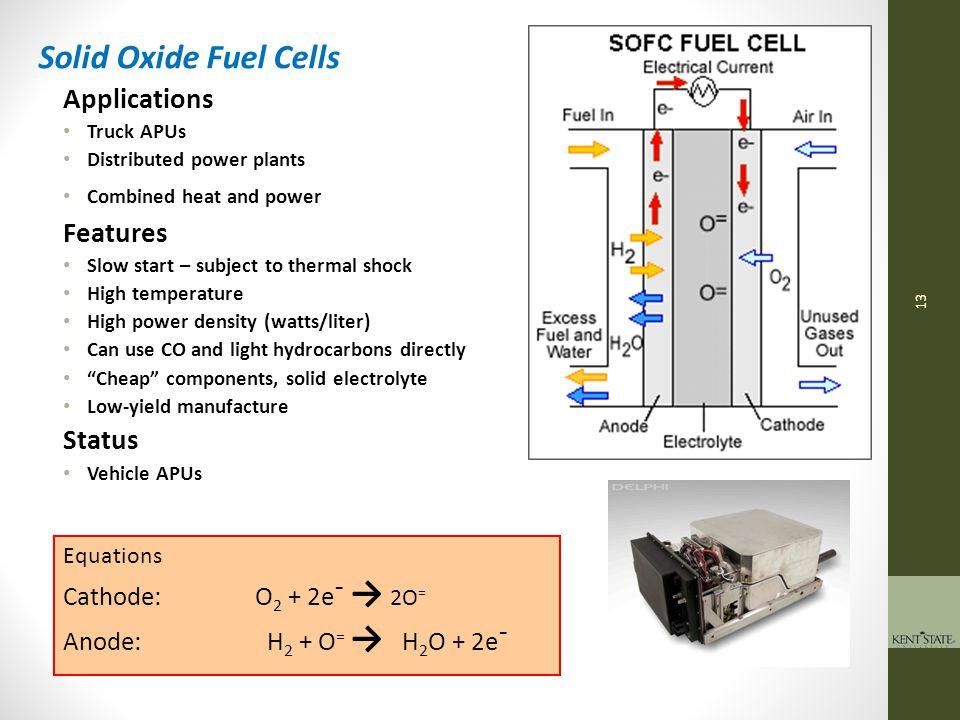 14 Equations Cathode: ½O 2 + 2H + + 2e¯ → H 2 O Anode: H 2 → 2H + + 2e¯ Polymer Electrolyte Fuel Cells Applications Transportation, Forklifts, etc.