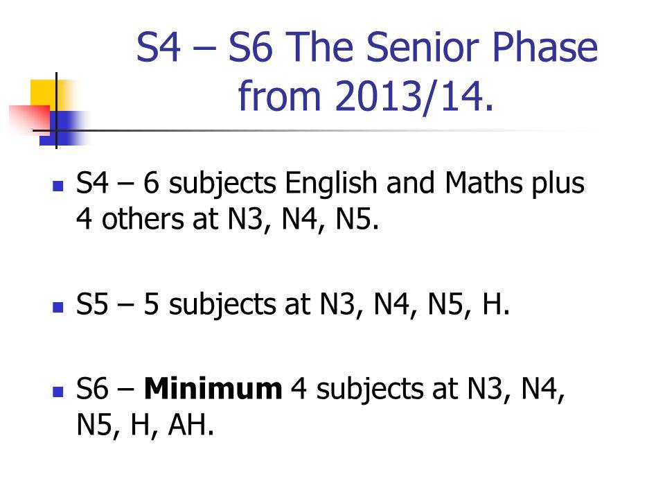 Progression Routes N5 in S4 - H in S5 - AH in S6.N4 in S4 - N5 in S5 - H in S6.