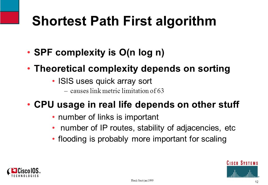 13 Henk Smit jan1999 Shortest Path First algorithm We maintain three lists (or sets) Unknown list all nodes start on this list TENTative list all nodes we are currently examining also called candidate list PATHS list all nodes to which we have calculated final paths also called known list