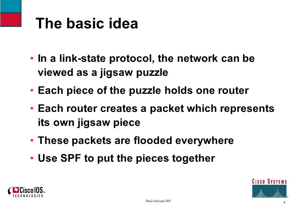 5 Henk Smit jan1999 About link-state protocols The jigsaw puzzle LSP for routerA LSP for routerB LSP for routerC LSP for routerD to B to E to D to C to A to D to C to B LSP for routerE to A to B to A to E