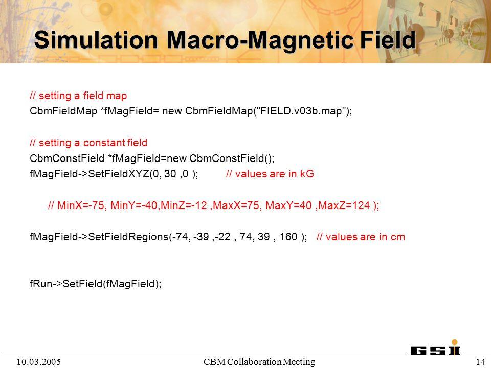 10.03.2005CBM Collaboration Meeting 15 Simulation Macro- Run Simulation fRun->Init(); // Initialize the simulation Simulation: 1.