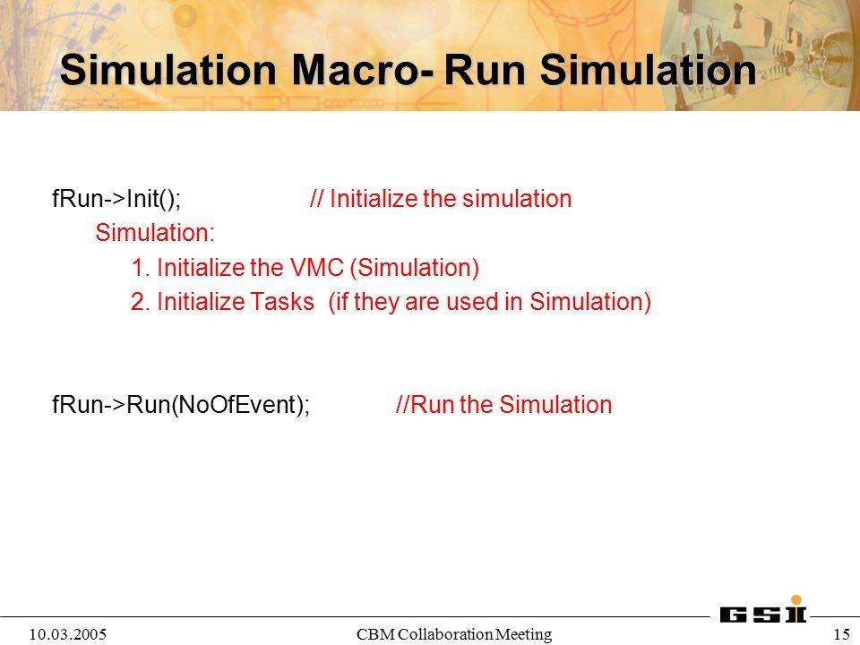 10.03.2005CBM Collaboration Meeting 16 Saving Parameters: ROOT Files //Fill the Parameter containers for this run */ CbmRuntimeDb *rtdb=fRun->GetRuntimeDb(); rtdb->addRun(1);//add run with run Id CbmParRootFileIo* output=new CbmParRootFileIo(); output->open( SimPar.root , RECREATE ); rtdb->setOutput(output); CbmBaseParSet* par=(CbmBaseParSet*)(rtdb->getContainer( CbmBaseParSet )); par->SetField(fMagField); par->SetGen(primGen); par->setChanged(); par->setInputVersion(1,1); rtdb->saveOutput();