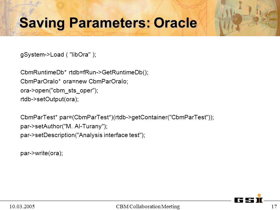 10.03.2005CBM Collaboration Meeting 18 Analysis Macro { gROOT->LoadMacro( $VMCWORKDIR/gconfig/basiclibs.C ); basiclibs(); gSystem->Load( libCbm ); gSystem->Load( libTrack ); CbmRunAna *fRun= new CbmRunAna(); fRun->SetInputFile( /d/STS_AuAu25Gev_Urqmd.root ); fRun->SetOutputFile( trackOutput.root );