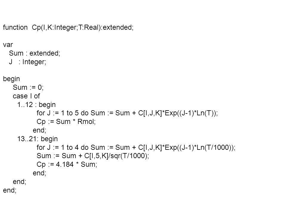 function Enthalpy(I,K:Integer;T:Real):extended; var J : Integer; Sum : extended; begin Sum := 0; case I of 1..12 : begin for J := 1 to 5 do Sum := Sum + C[I,J,K]*Exp(J*Ln(T))/J; Sum := Sum + C[I,6,K]; Enthalpy := Sum * Rmol; end; 13..21: begin for J := 1 to 4 do Sum := Sum + C[I,J,K]*Exp(J*Ln(T/1000))/J; Sum := Sum - C[I,5,K]*1000/T + C[I,6,K] +C[I,7,K]; Enthalpy := 4184 * Sum; end;