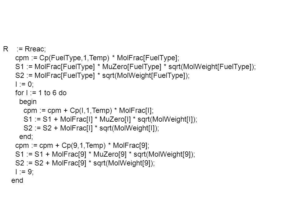 else begin R := Rprod; for I := 1 to 12 do begin cpm := cpm + Cp(I,2,Temp) * MolFracp[I]; S1 := S1 + MolFracp[I] * MuZero[I] * sqrt(MolWeight[I]); S2 := S2 + MolFracp[I] * sqrt(MolWeight[I]); end; Viscosity := (S1/S2) * Exp(0.645 * Ln(Temp)); Cvm := Cpm - Rmol; k := Cpm/Cvm; Cpm := Cpm/MWmix; Cvm := Cpm - R; Conductivity := Cpm * Viscosity / 0.7; Density := Press/(R * Temp); end;