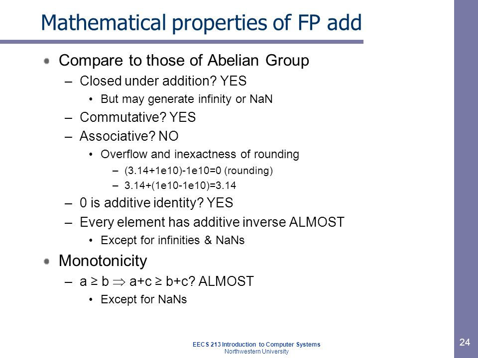 EECS 213 Introduction to Computer Systems Northwestern University 25 Math.