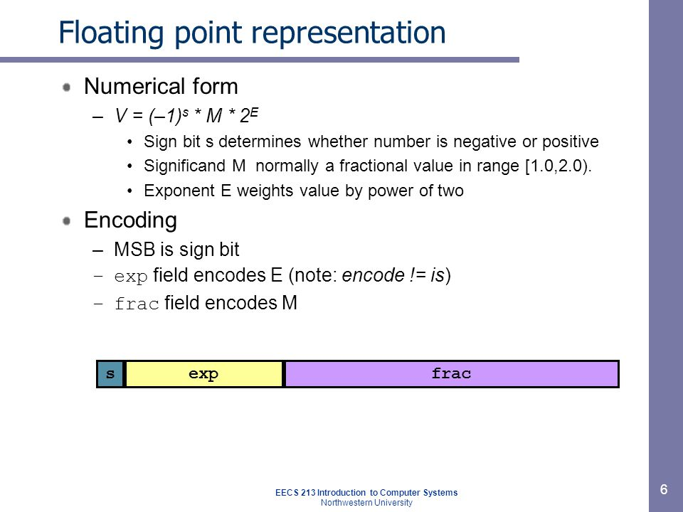 EECS 213 Introduction to Computer Systems Northwestern University 7 Floating point precisions Encoding –Sign bit; exp (encodes E): k-bit; frac (encodes M): n-bit Sizes –Single precision: k = 8 exp bits, n= 23 frac bits 32 bits total –Double precision: k = 11 exp bits, n = 52 frac bits 64 bits total –Extended precision: k = 15 exp bits, n = 63 frac bits Only found in Intel-compatible machines Stored in 80 bits –1 bit wasted Value encoded – three different cases, depending on value of exp sexpfrac