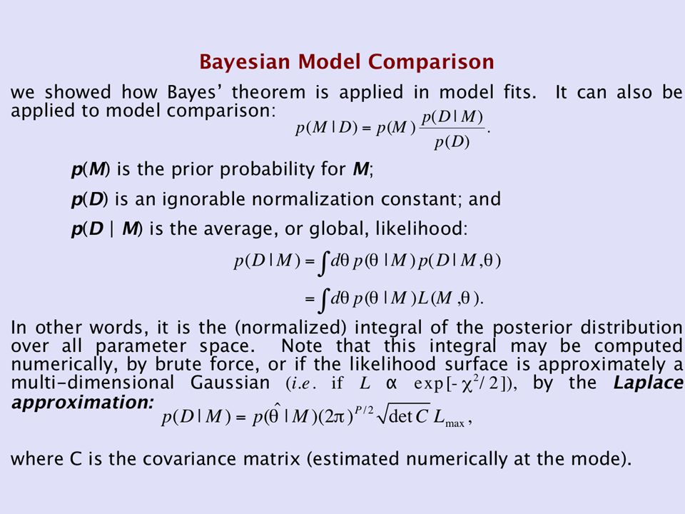 Model Comparison Tests A model comparison test statistic T is created from the best-fit statistics of each fit; it is sampled from a probability distribution p(T).