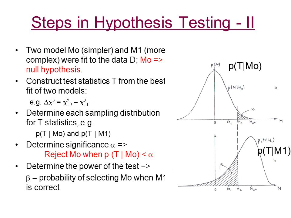 Conditions for LRT and F-test The two models that are being compared have to be nested: broken power law is an example of a nested model BUT power law and thermal plasma models are NOT nested The null values of the additional parameters may not be on the boundary of the set of possible parameter values: continuum + emission line -> line intensity = 0 on the boundary References Freeman et al 1999, ApJ, 524, 753 Protassov et al 2002, ApJ 571, 545