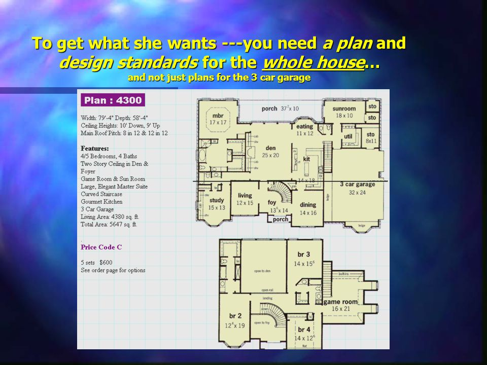 To get what she wants ---you need a plan and design standards for the whole house… and not just plans for the 3 car garage