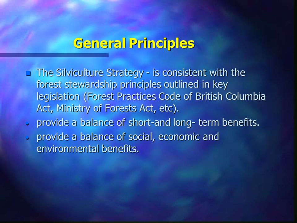 General Principles n The Silviculture Strategy - is consistent with the forest stewardship principles outlined in key legislation (Forest Practices Code of British Columbia Act, Ministry of Forests Act, etc).