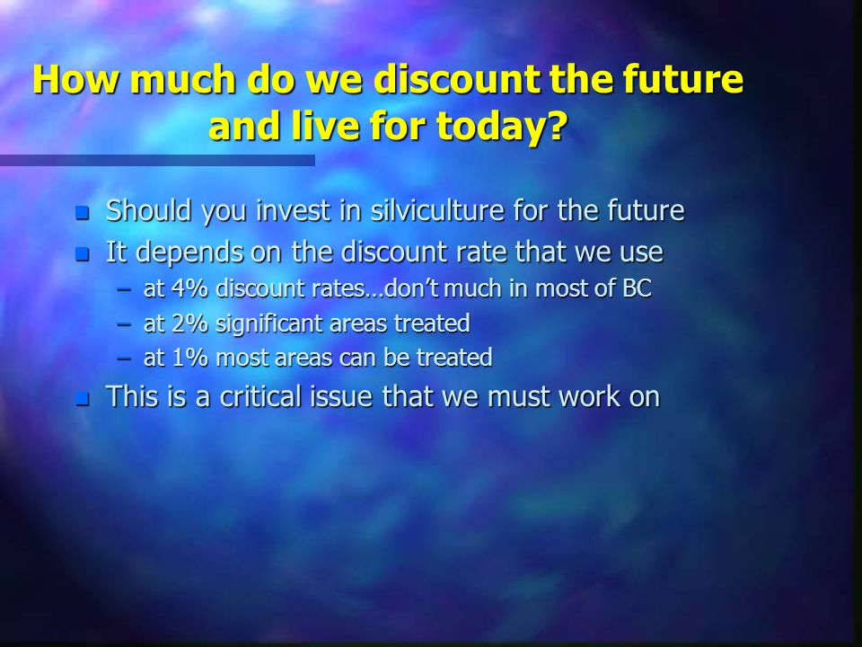 How much do we discount the future and live for today.