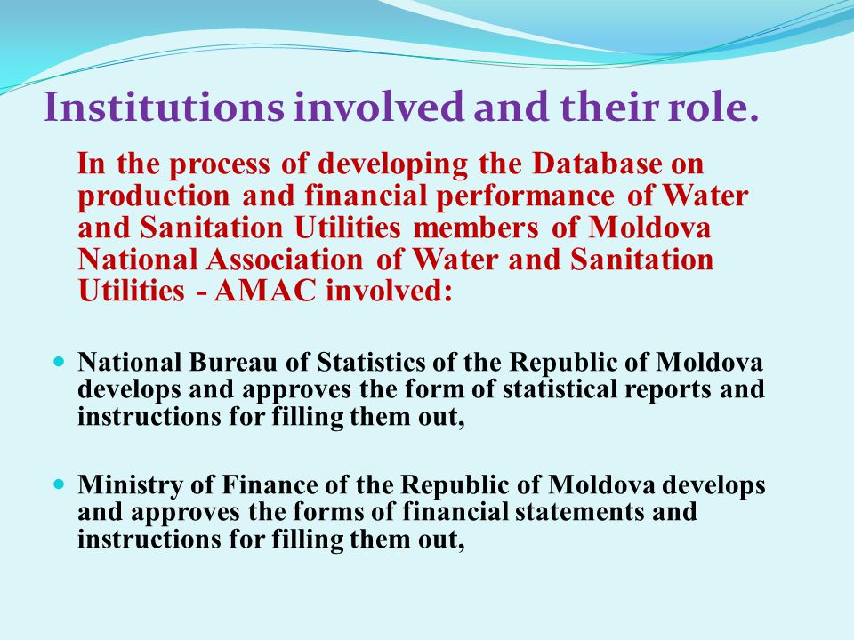 The Water and Sanitation Utilities, members of Moldova National Association of Water and Sanitation Utilities- AMAC.
