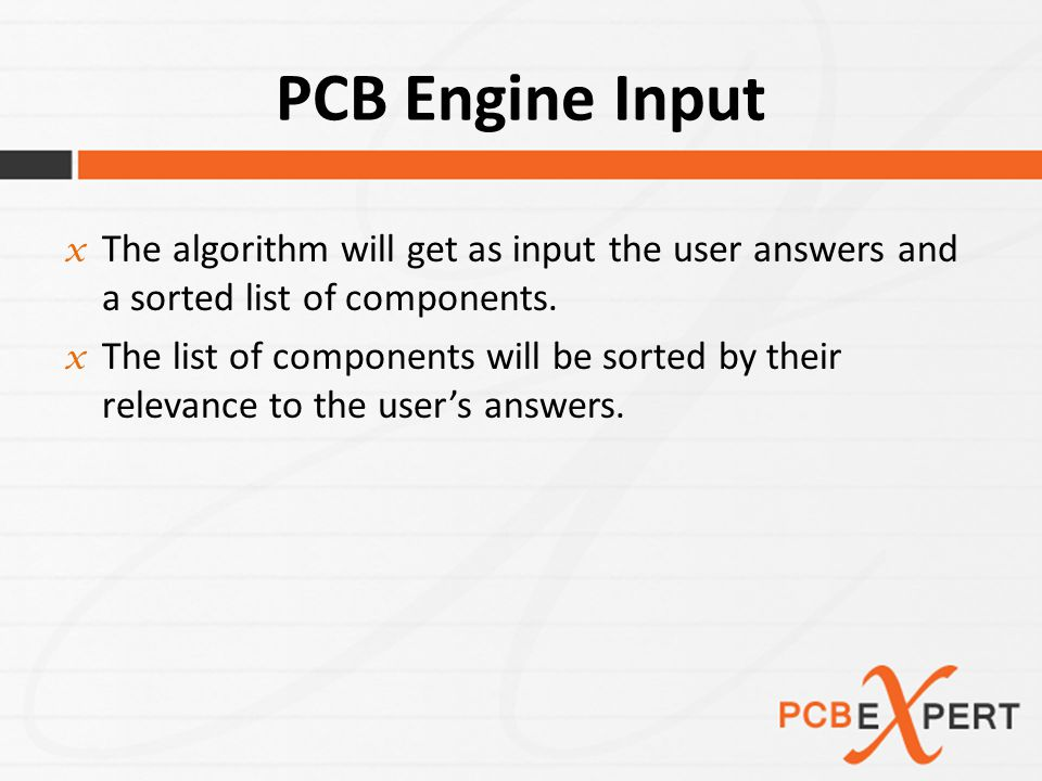 PCB Engine (Algorithm) While(totalMoney < budget){ f1.addComponent(sortedComponents, budget); } f2 = replaceLessSeg(sortedComponents, budget); undo(f1); While(moreCompToReplace){ moreCompToReplace = replaceNextComponent(f1); } finalProduct = compare(f1, f2);