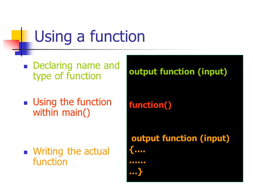 Function example #include void main (void) { int x=10,n=3,r; printf( This line will appear on your screen\n ); r=pow(x,n); printf( \nr = %d\n\n ,r); } function f1() function f2()