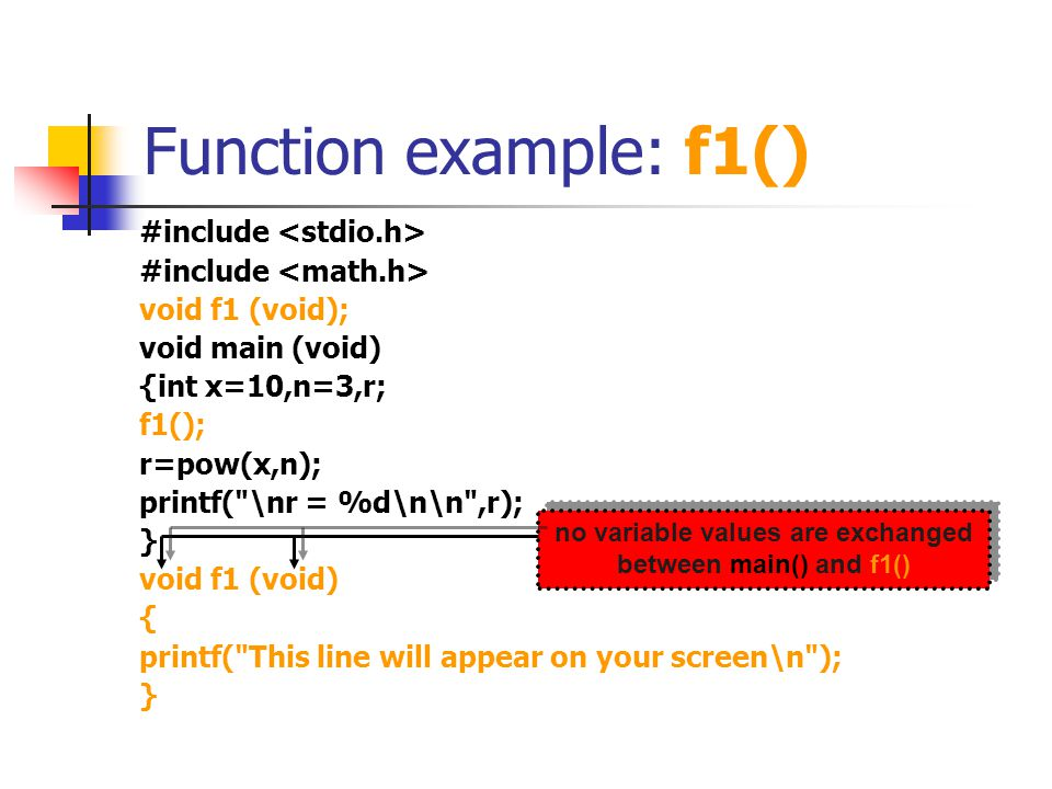 Function example: f2() #include void f1 (void); void f2 (int a, int b); void main (void) {int x=10,n=3; f1(); f2(x,n); } void f1 (void) { printf( This line will appear on your screen\n ); } void f2 (int a, int b) { int r; r=pow(a,b); printf( \nr = %d\n\n ,r); } r is defineda and b are two integer inputs to function f2() f2() is given two integer inputs