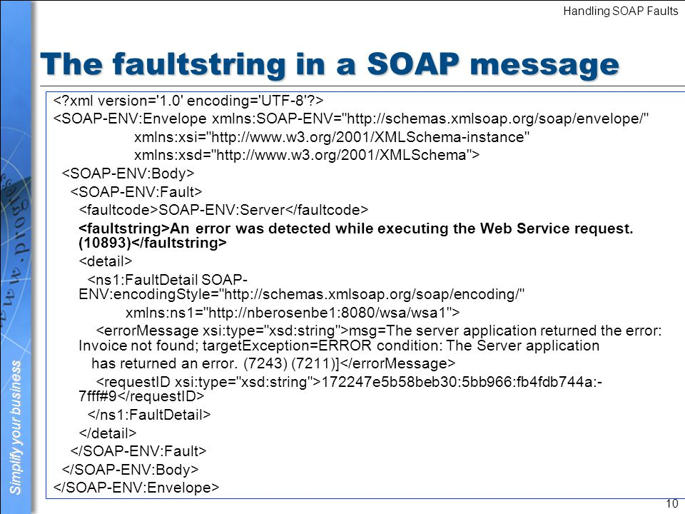 Simplify your business Handling SOAP Faults 11 The detail in a SOAP message <SOAP-ENV:Envelope xmlns:SOAP-ENV= http://schemas.xmlsoap.org/soap/envelope/ xmlns:xsi= http://www.w3.org/2001/XMLSchema-instance xmlns:xsd= http://www.w3.org/2001/XMLSchema > SOAP-ENV:Server An error was detected while executing the Web Service request.