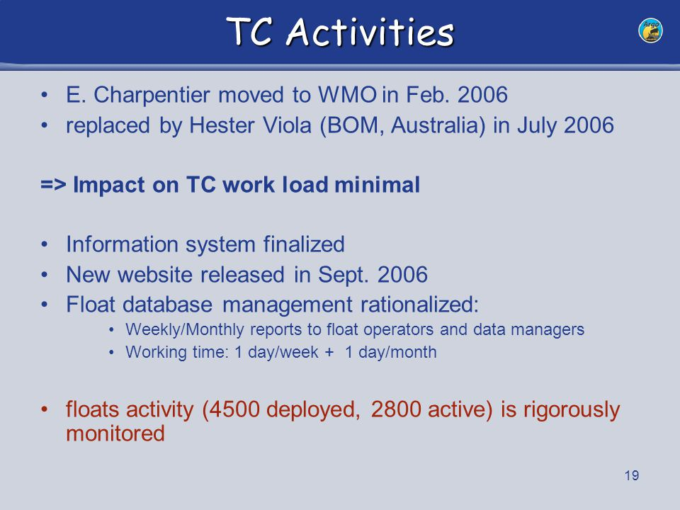 20 TC Activities => See report for daily, weekly, monthly, yearly, biennial and ad hoc tasks.