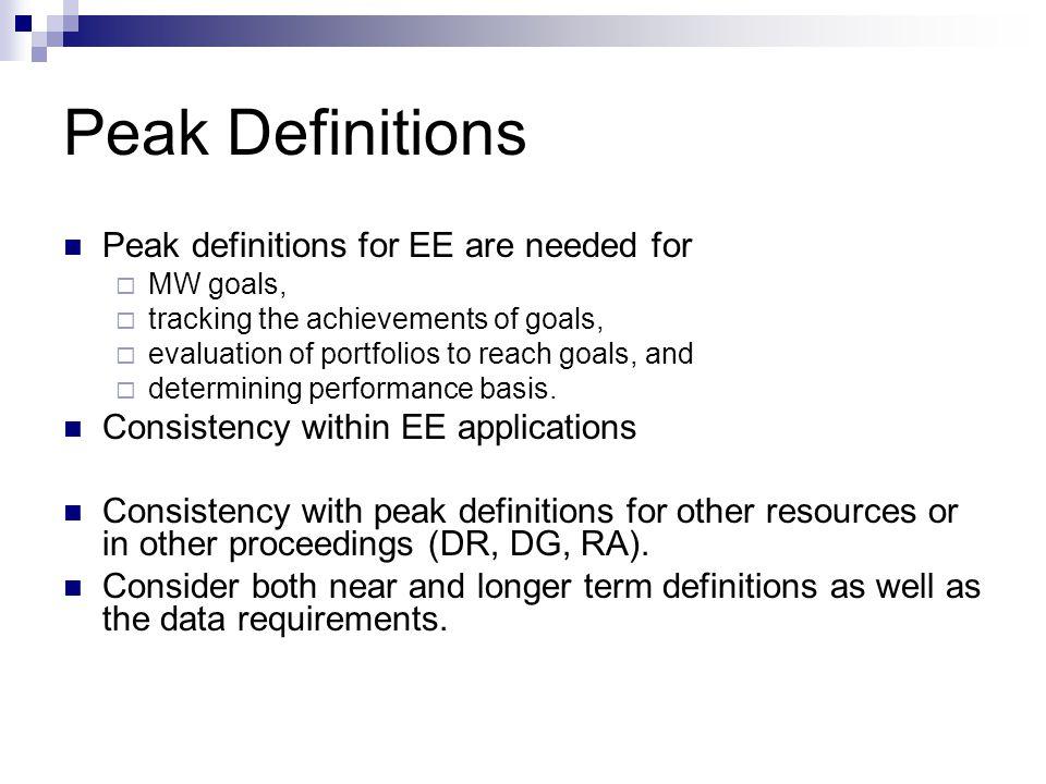 Peak Metrics – 1 DEER kW Available for measures in the DEER database.