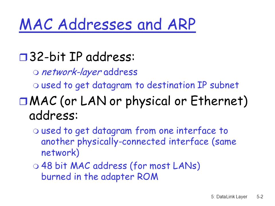 5: DataLink Layer5-3 LAN Addresses and ARP Each adapter on LAN has unique LAN address Broadcast address = FF-FF-FF-FF-FF-FF = adapter 1A-2F-BB-76-09-AD 58-23-D7-FA-20-B0 0C-C4-11-6F-E3-98 71-65-F7-2B-08-53 LAN (wired or wireless)