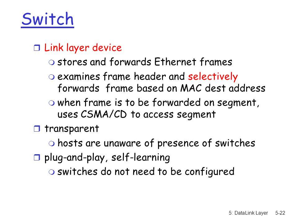 5: DataLink Layer5-23 Forwarding How do determine onto which LAN segment to forward frame.