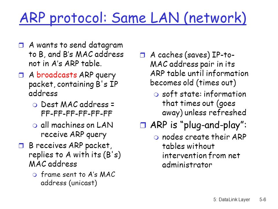 5: DataLink Layer5-7 Routing to another LAN walkthrough: send datagram from A to B via R assume A know's B IP address r Two ARP tables in router R, one for each IP network (LAN) r In routing table at source Host, find router 111.111.111.110 r In ARP table at source, find MAC address E6-E9-00-17-BB-4B, etc A R B