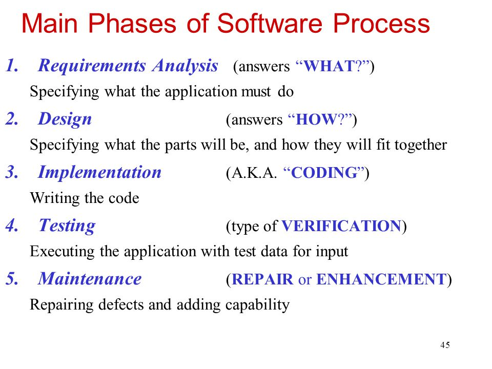 46 Software Process Phases Requirements Analysis: Text produced e.g., … The application shall display the balance in the user's bank account.