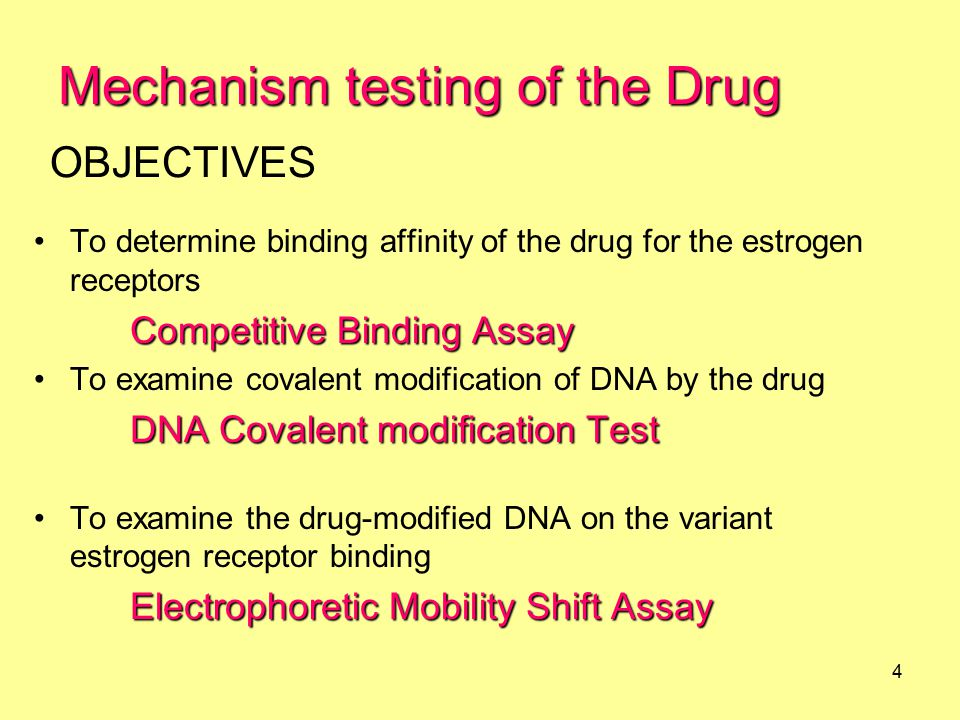 5 In vitro In vitro (cell free extract) 1.Relative Affinity of the Drug to ERs 2.DNA Covalent modification test 3.The drug modified DNA binding to the variant estrogen receptor In vitro (cell line) 4.DNA Covalent modification test In vivo 5.DNA Covalent modification test (in mice)