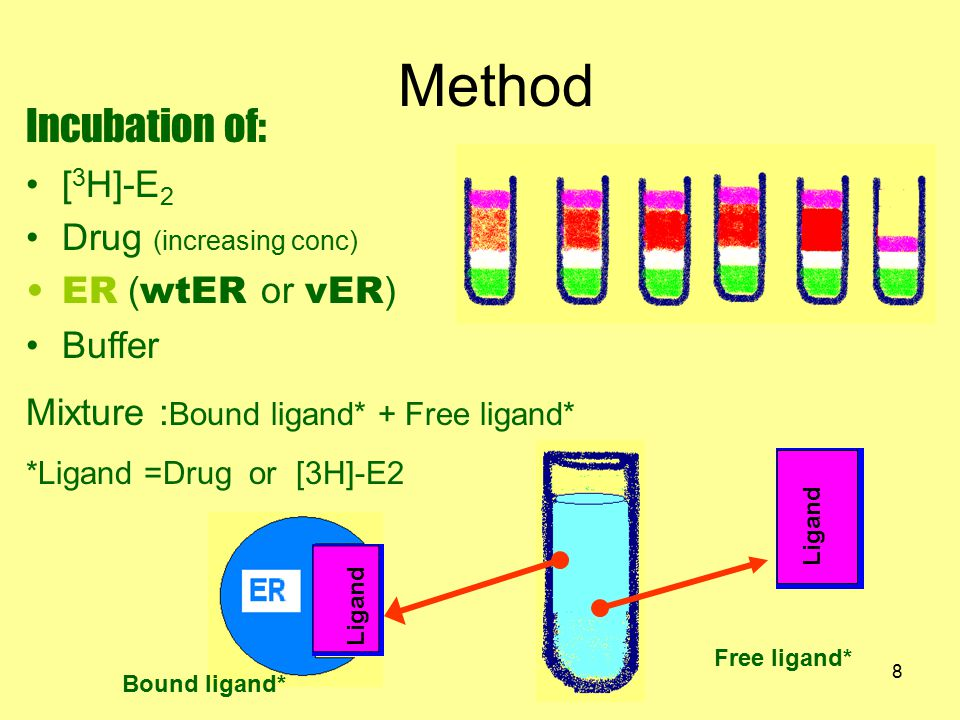9 [3H]-E2(ER-[3H]-E2) (ER-Drug) (Drug),(E2) (ER-[3H]-E2) (ER-Drug) Free ligand separate bound ligand from free ligand by HAP extract the [3H]-E2 from the HAP by ethanol Measure : radioactivity [3H]-E2 ER