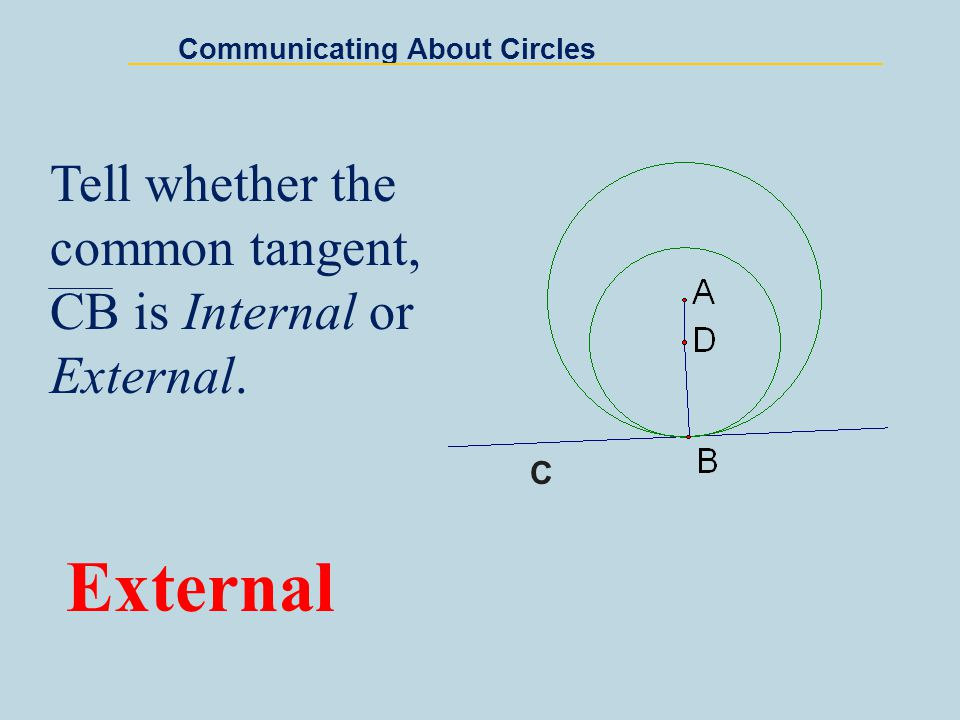Center G: (2, 2) Radius = 2 Center H: (6, 2) Radius = 2 Common tangents: x = 4; y = 4; and y = 0 Communicating About Circles Find the center and radius of each circle.