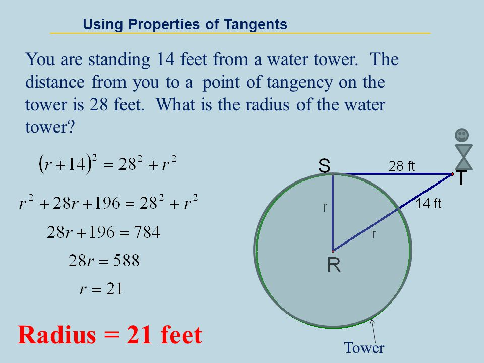 Using Properties of Tangents If two segments from the same exterior point are tangent to the circle, then they are congruent.
